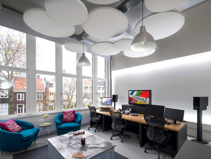 Soundtect Acoustic Circles Ceiling Panel with Modern Office and White Finish
