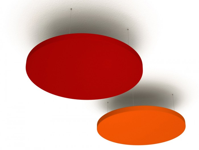 Soundtect Acoustic Circles Ceiling Panel with Recycled Elegant Red Finish