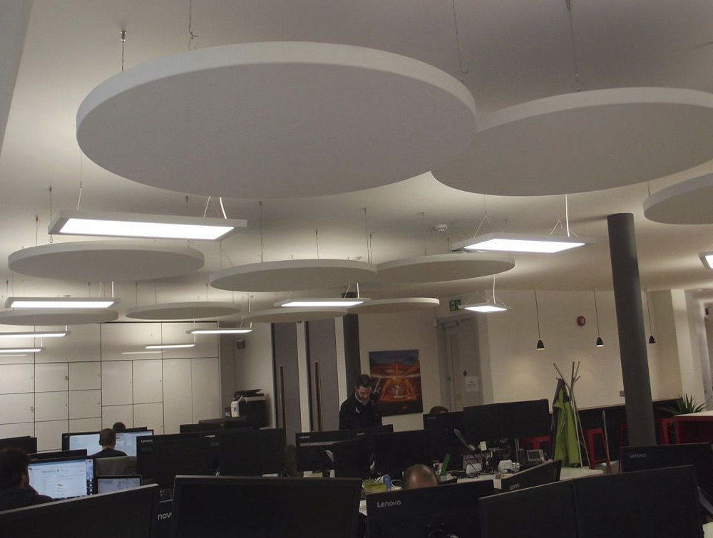 Soundtect Acoustic Circles Hanging Panels with White Recycled Plastic Finish