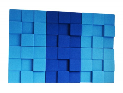 Soundtect Recycled Cubism Acoustic Wall Panel In Blue