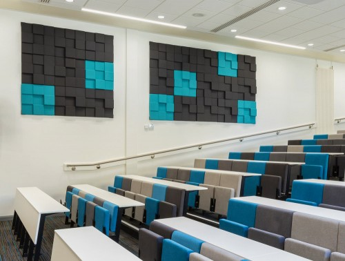 Soundtect Recycled Cubism Acoustic Wall Panel in light Blue and Black Finish for Conference Rooms