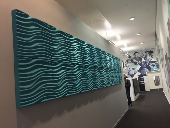 Soundtect Recycled Wave Wall Acoustic Panel in Bright Light Blue Finish for Hallways