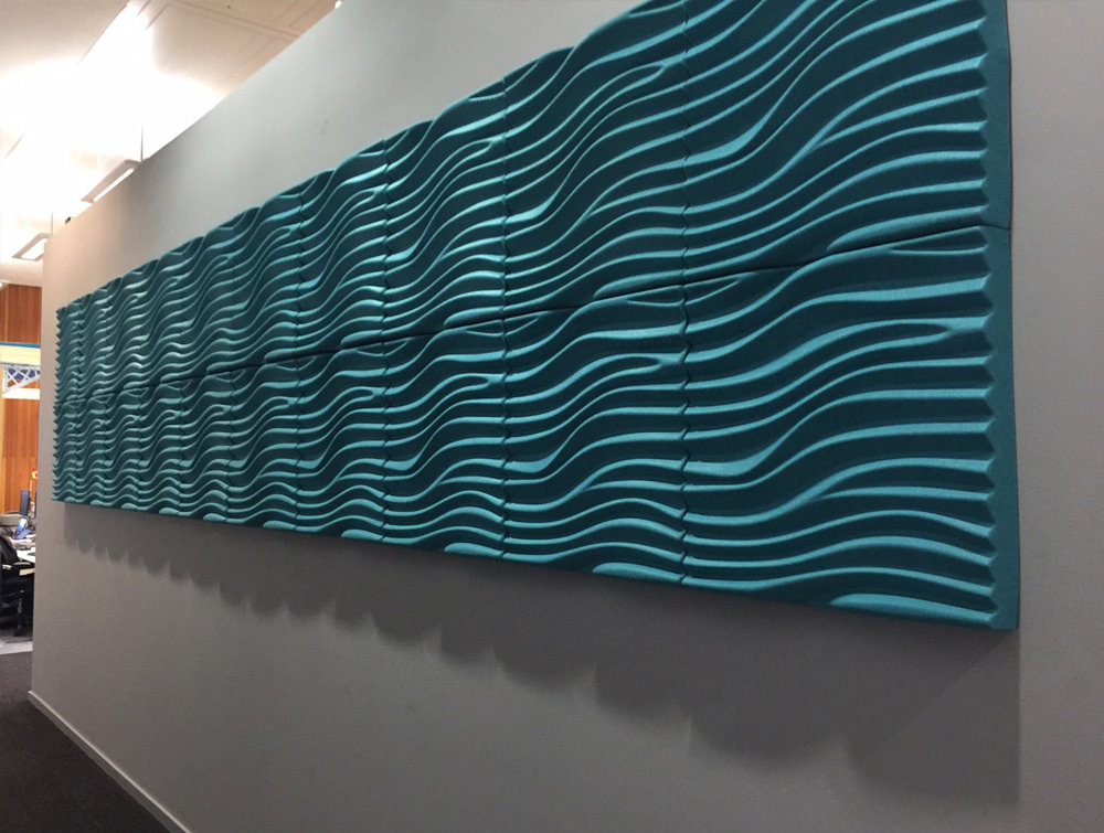 Soundtect Recycled Wave Wall Acoustic Panel in Bright Light Blue Finish in Hallways