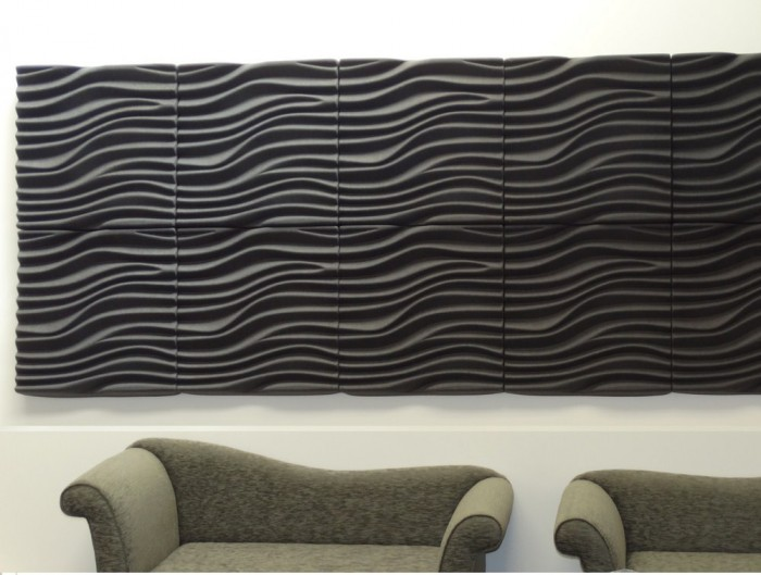 Soundtect Recycled Wave Wall Acoustic Panel in Fancy Yellow and Black Finish for Receptions Areas