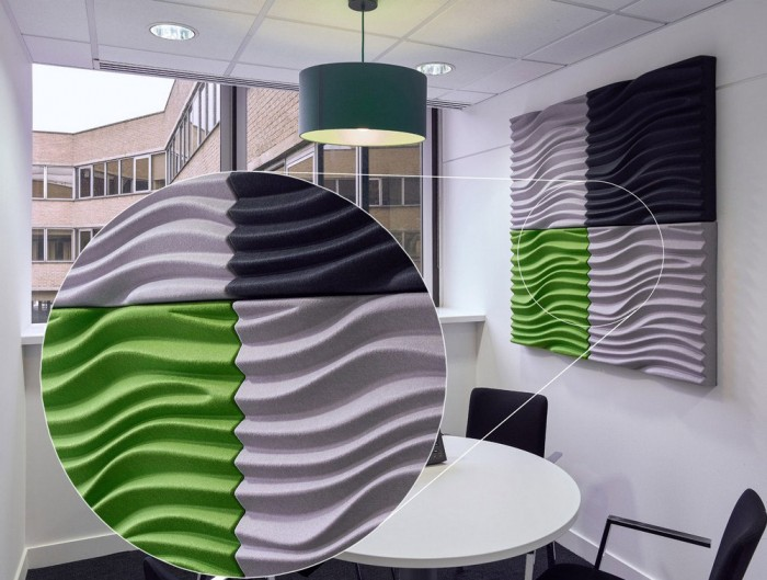 Soundtect Recycled Wave Wall Acoustic Panel in Funky Grey Black and Green Finish for Meeting Rooms