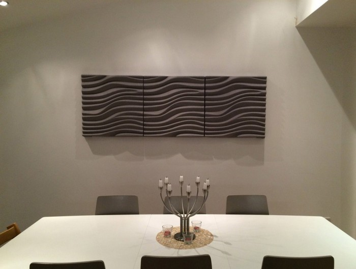 Soundtect Recycled Wave Wall Acoustic Panel in Grey Finish for Canteen and Breakout Room