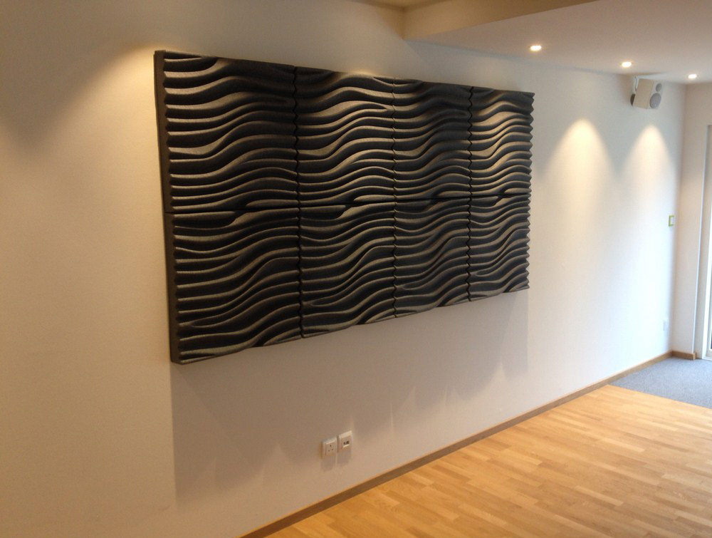 Soundtect Recycled Wave Wall Acoustic Panel in Grey Finish for Receptions Areas
