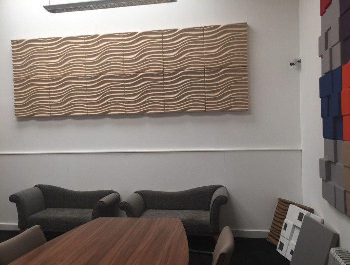 Soundtect Recycled Wave Wall Acoustic Panel in Sober Beige Finish for Receptions Areas