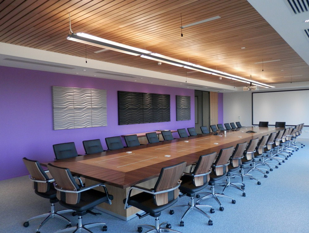 Soundtect Recycled Wave Wall Acoustic Panel in Stylish Black and Grey Finish for Conference Rooms