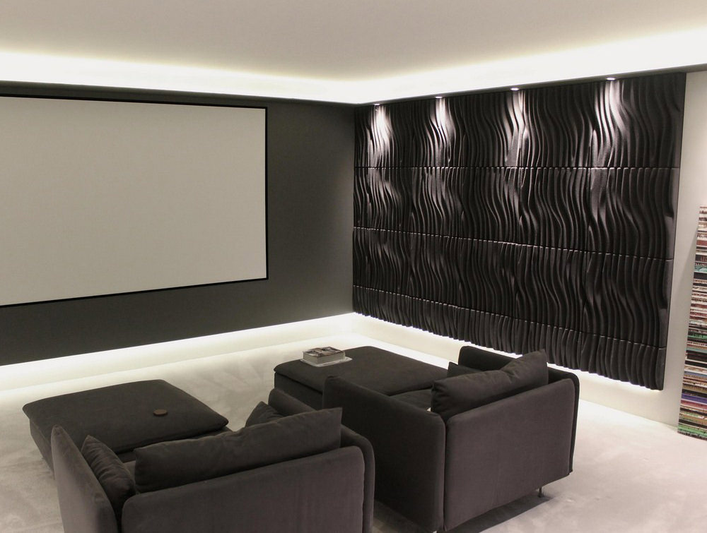 Soundtect Recycled Wave Wall Acoustic Panel in Stylish Black Finish for Meeting Rooms