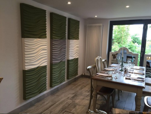 Soundtect Recycled Wave Wall Acoustic Panel in Stylish Green and White Finish for Canteen