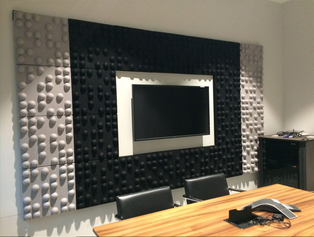 Soundtect Recycled Tetris Wall Acoustic Grey and Black Wall Panel For Meeting Room with Mounted Media Screen
