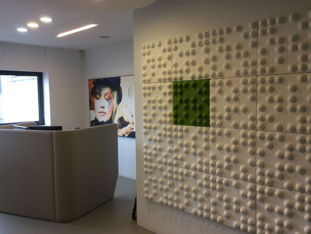 Soundtect Recycled Tetris Wall Acoustic Lime Green and White Wall Pane lFor Meeting Room
