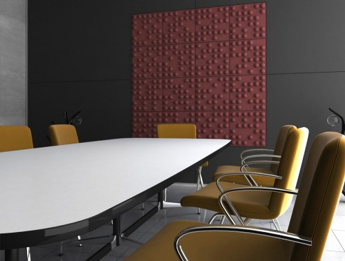 Soundtect Recycled Tetris Wall Acoustic Purple Wall Panel For Meeting Rooms with Table and Chairs