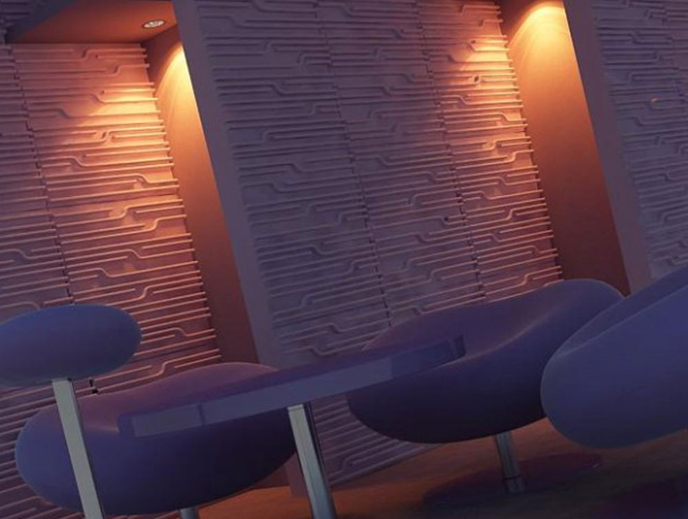 Soundtect Technics Recycled Eco Acoustic Wall Panel Grey for Receptions Areas in Eco Friendly Finish