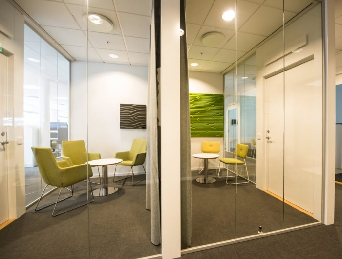 Soundtect Technics Recycled Eco Acoustic Wall Panel Lime Green and Grey for Meeting Rooms