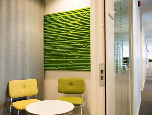 Soundtect Technics Recycled Eco Acoustic Wall Panel Lime Green for Reception Areas