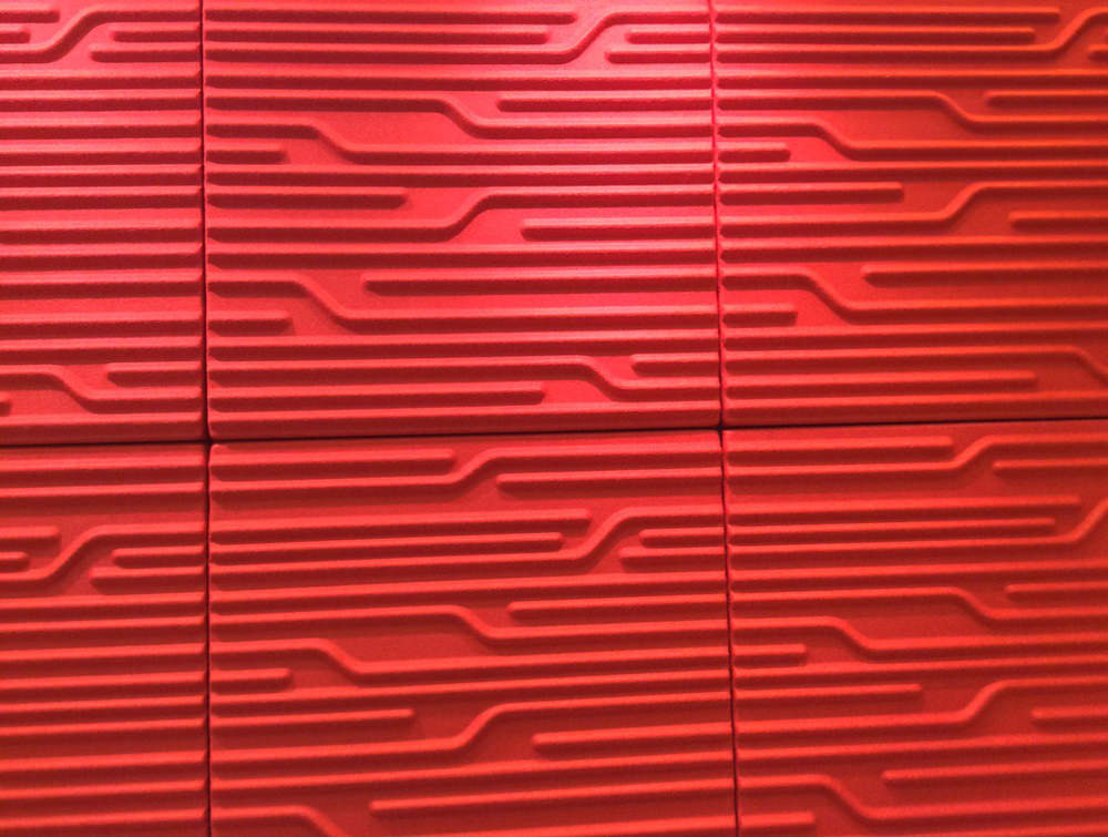 Soundtect Technics Recycled Eco Acoustic Wall Panel Red Close Up