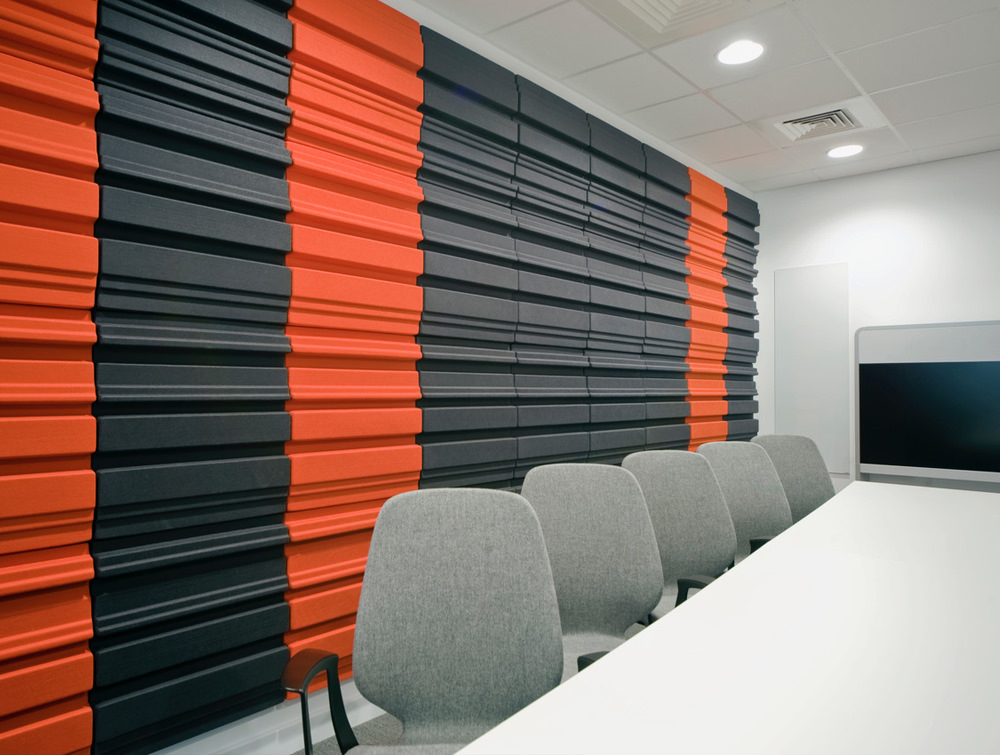 Soundtect Forest Recycled Eco Acoustic Wall Panel for Conference Room in Orange and Black Finish