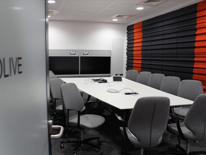 Soundtect Forest Recycled Eco Acoustic Wall Panel for Meeting Room with Media-Screen