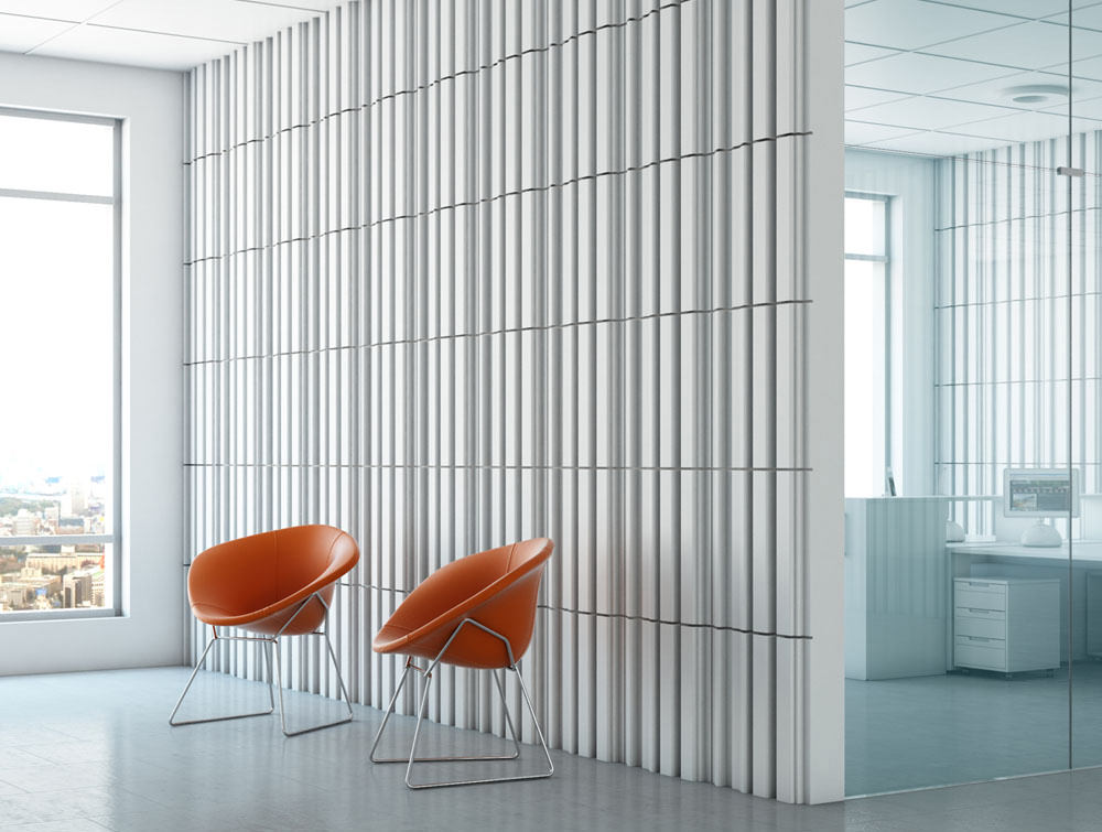 Soundtect Forest Recycled Eco Acoustic Wall Panel in Elegant White Recycled Finish for Waiting and Reception Rooms