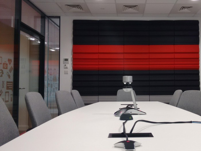 Soundtect Forest Recycled Eco Acoustic Wall Panel with Black and Red Modern Recycled Finish