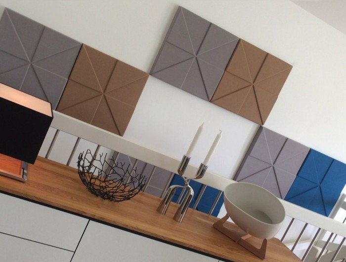Soundtect Prism Recycled Acoustic Wall PaneBlue Brown and Grey Finish