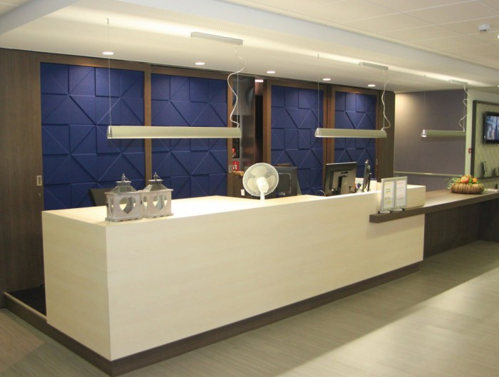 Soundtect Prism Recycled Acoustic Wall Panel in Dark Blue Finish for Reception Areas