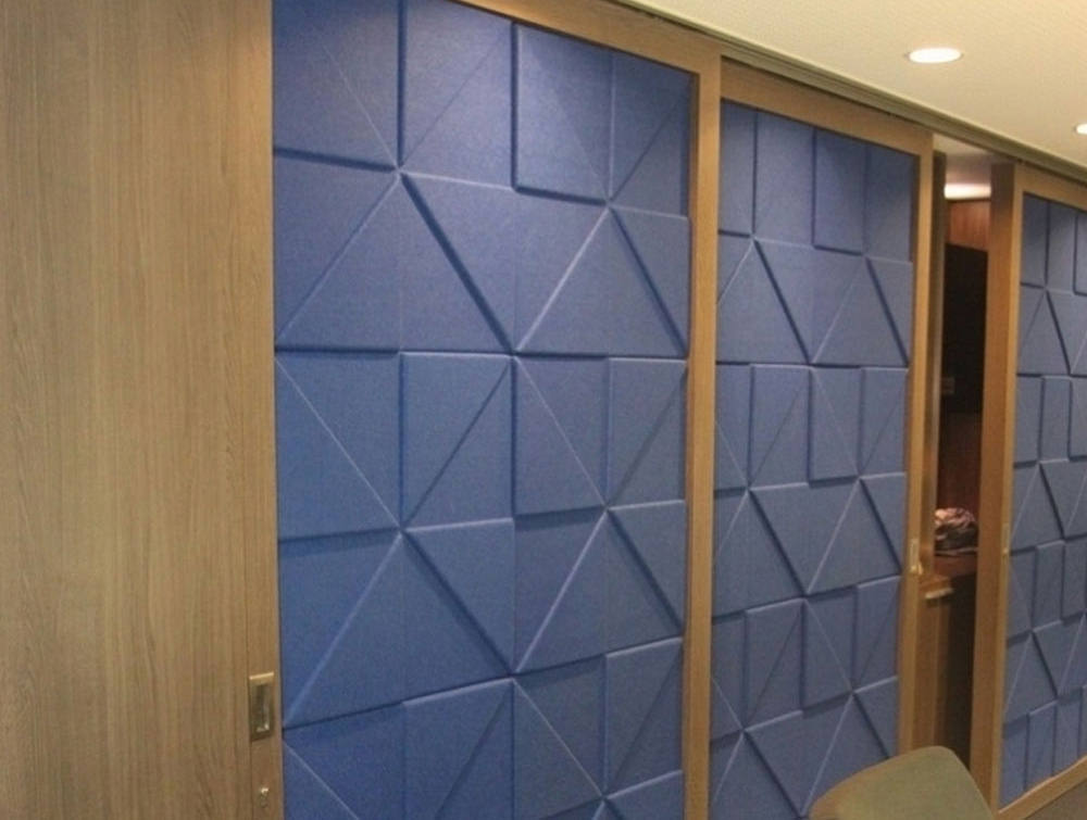 Soundtect Prism Recycled Acoustic Wall Panel in Elegant Blue Finish for Meeting Rooms