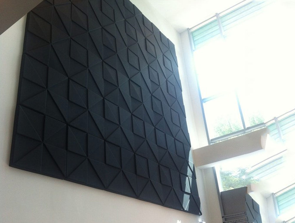 Soundtect Prism Recycled Acoustic Wall Panel in Elegant Lime Black Finish for Breakout Rooms