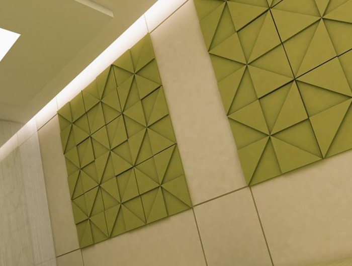 Soundtect Prism Recycled Acoustic Wall Panel in Elegant Lime Green Finish for Breakout Rooms