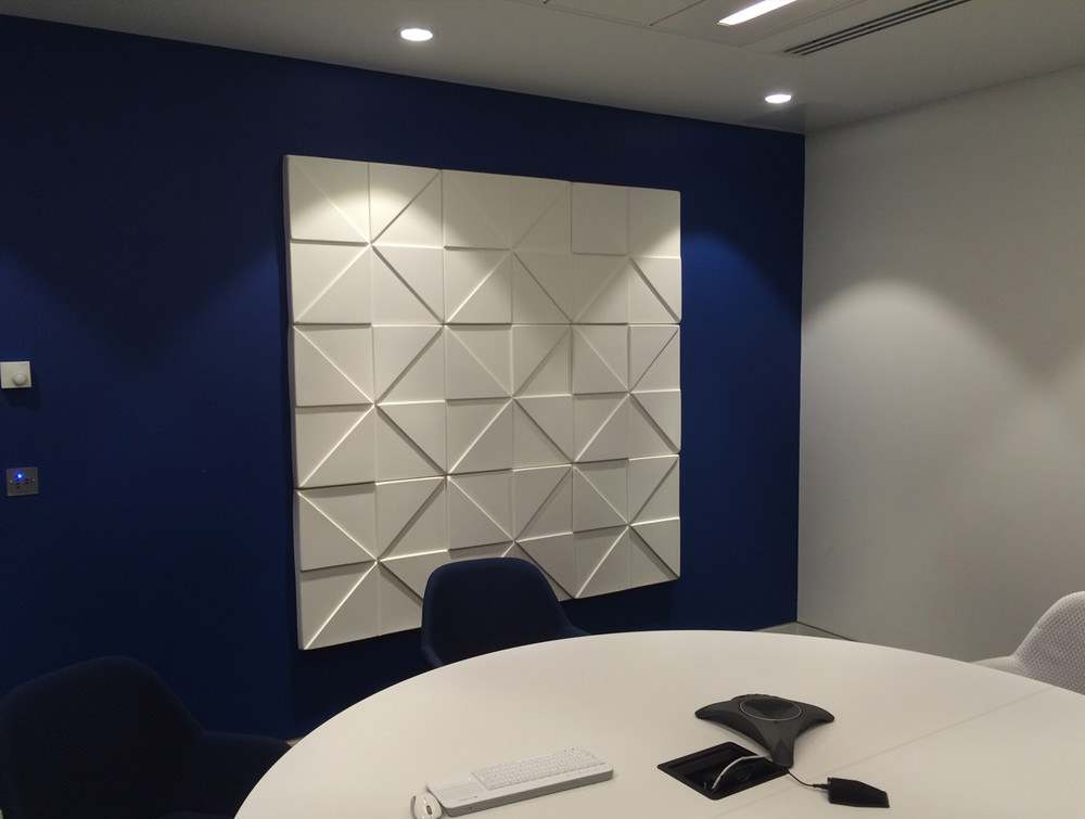 Soundtect Prism Recycled Acoustic Wall Panel in Elegant White Finish for Meeting Rooms