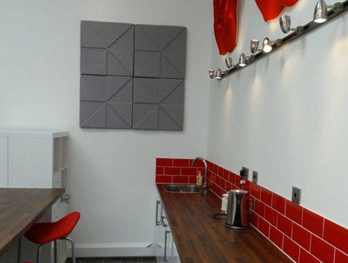 Soundtect Prism Recycled Acoustic Wall Panel in Grey Finish for Canteens and Breakout Areas