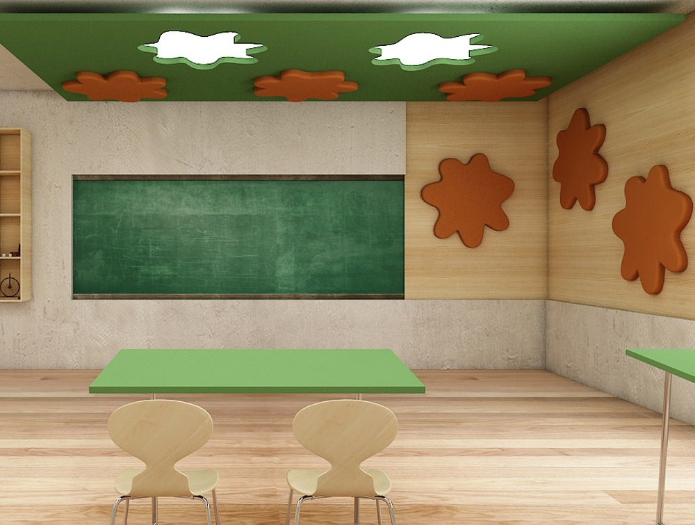 Soundtect Recycled Splat Acoustic Wall Panel Orange and Green for Meeting Rooms