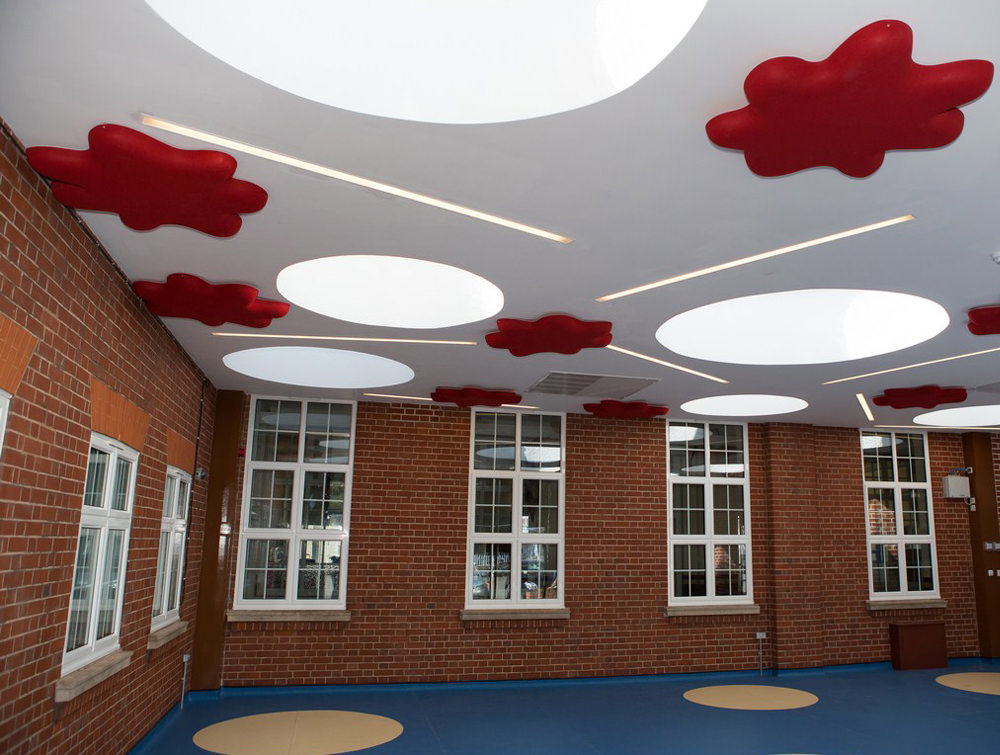 Soundtect Recycled Splat Acoustic Wall Panel Red for Recetion Areas