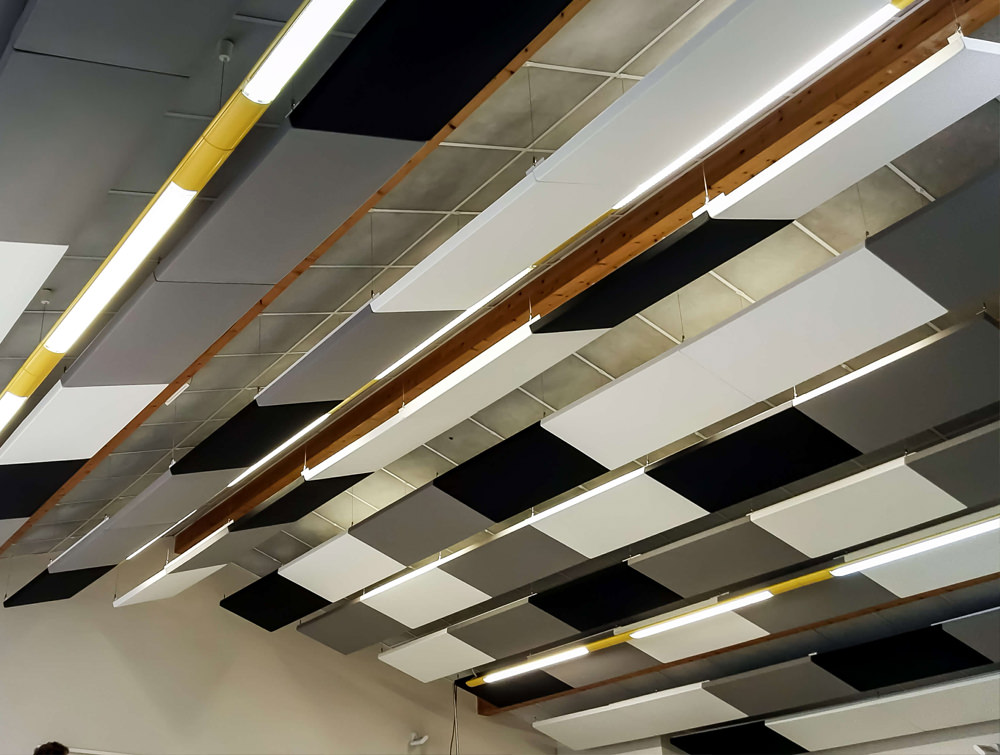 Soundtect Recycled Ceiling Acoustic Panel Class with Multicolour Finish and Recycled Material
