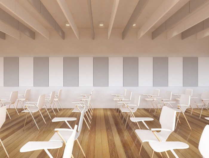 Soundtect Recycled Hanging Acoustic Panel Class in Meeting Room with Elegant Grey and White Recycled Finish