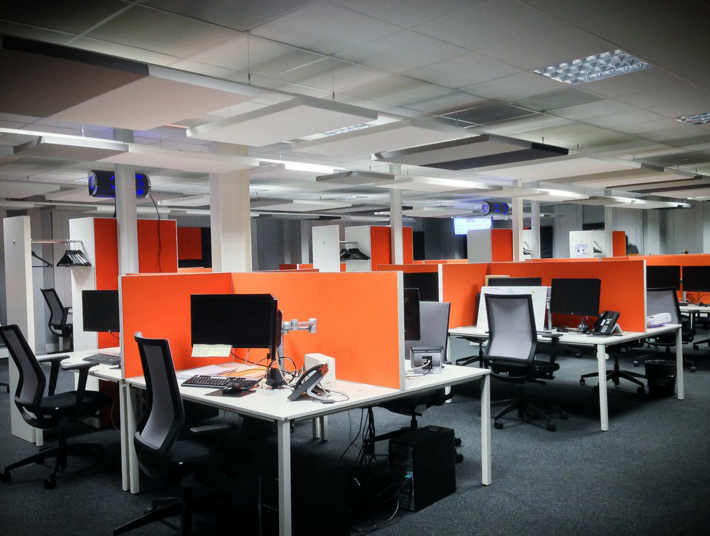 Soundtect Recycled White Grey and Black Hanging Acoustic Panel Class for Modern Open Offices