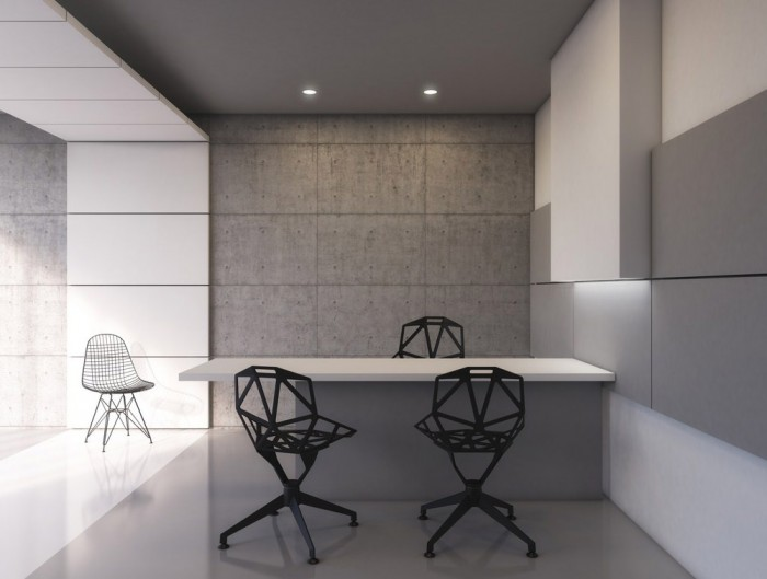 Soundtect Recycled White Hanging Acoustic Panel Class with Modern Chairs and Desk and Recycled Finish