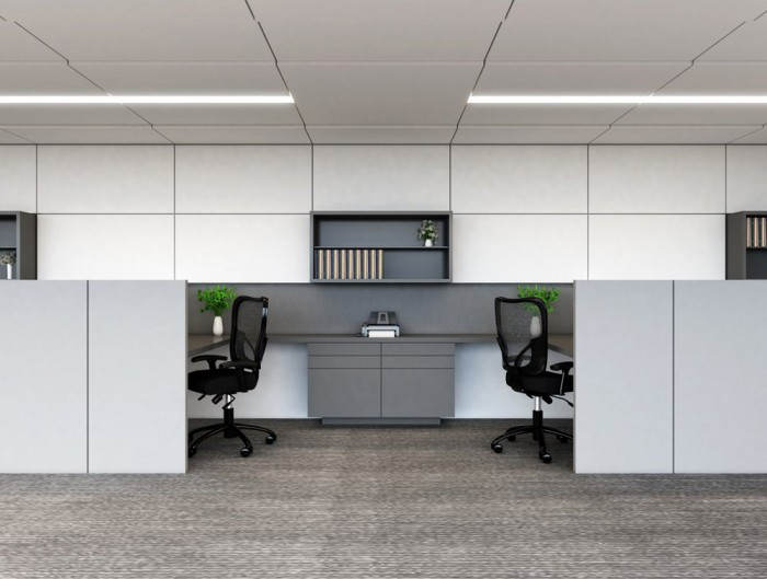 Soundtect Recycled White Wall Acoustic Panel Class in Open Office with Grey Recycled Material