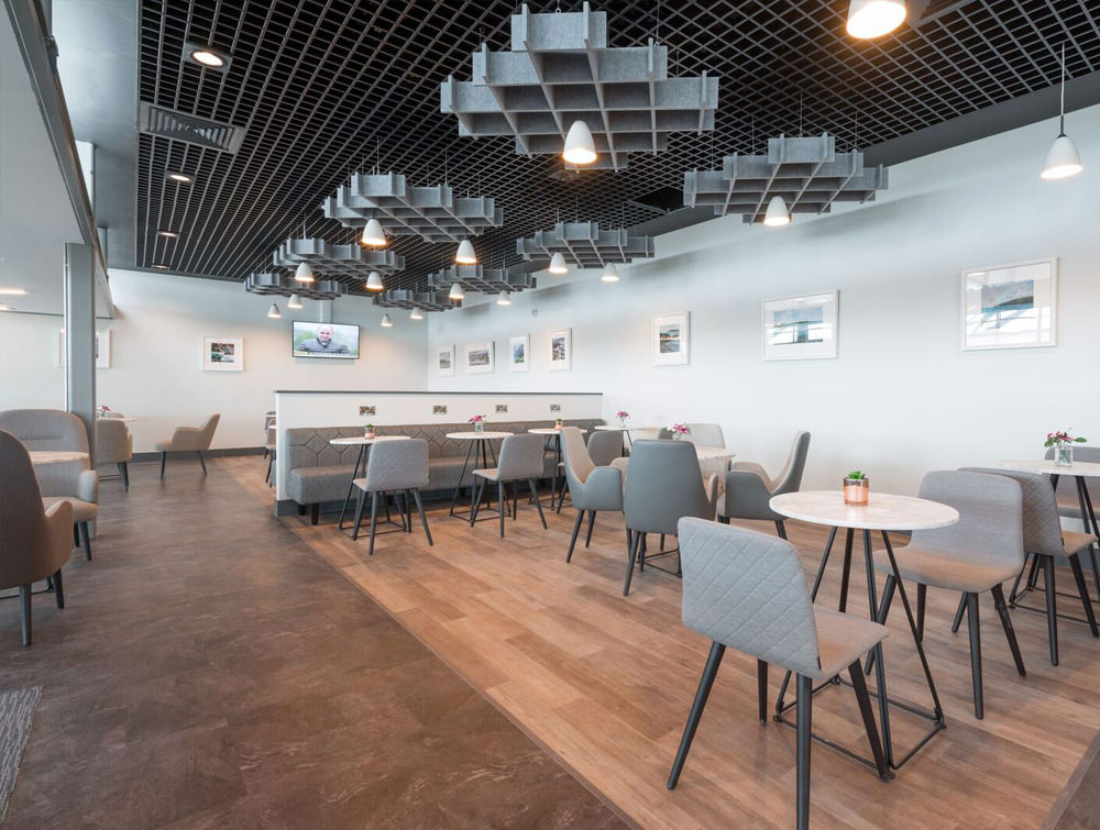 Soundtect Freestyle Recycled Acoustic Ceiling Panel in Grey Eco Friendly Finish for Canteens and Recetion Areas