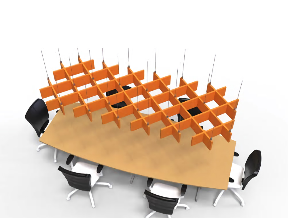 Soundtect Freestyle Recycled Acoustic Hanging Panel in Orange Eco Friendly Finish in Meeting Room