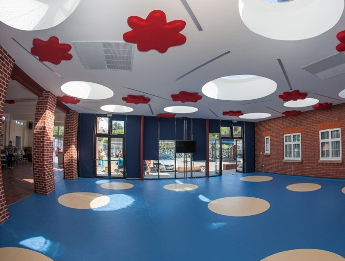 Soundtect Recycled Splat Acoustic Wall Panel Red for Recetion Areas and Schools
