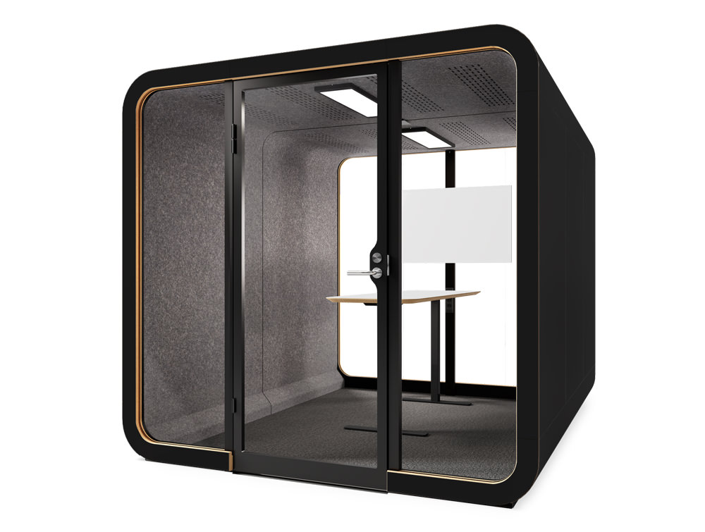 Framery Smart Office Acoustic Four Person Meeting Pod with in Black Finish