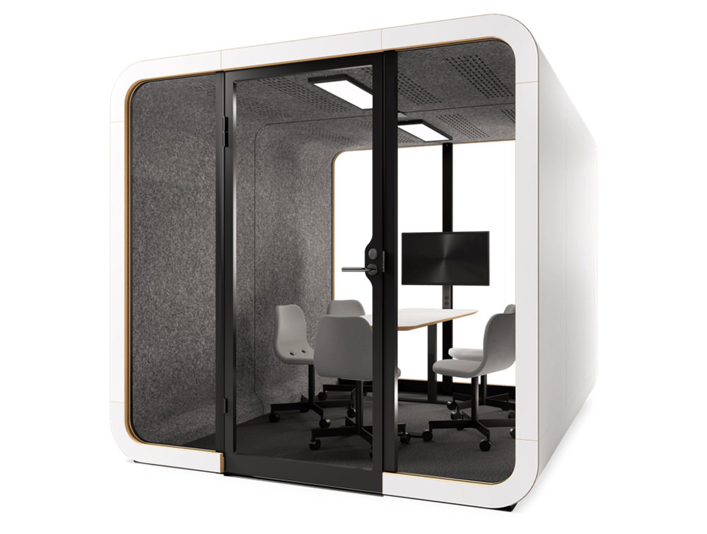 Framery Smart Office Acoustic Four Person Meeting Pod with Media Screen and Conference Table