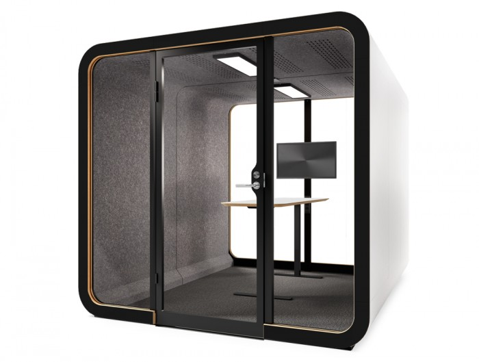 Framery Smart Office Acoustic Four Person Meeting Pod with in Black and White Finish with Screen Bracket