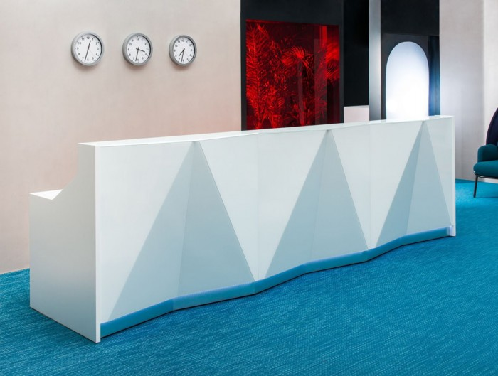 Alpa Reception Desk Summer White with White and Aluminum Glass Front and Grey Base