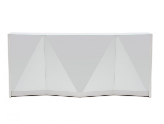 Alpa Reception Desk Summer White with White Light Box and Glass Top
