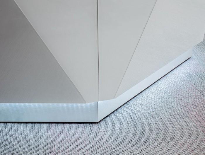 Alpa Reception Desk Summer White with White Light Box and LED Light Base
