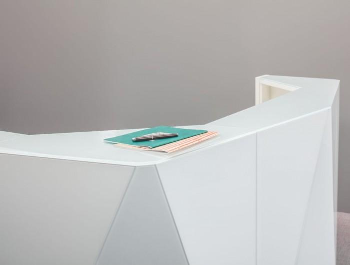 Alpa Reception Desk Summer White with White Table Top and Ergonomic Desk